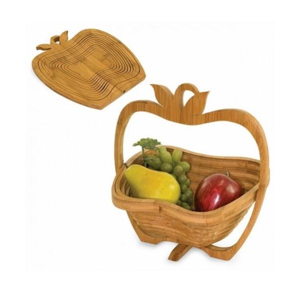 Cos de fructe din bambus si suport de farfurie