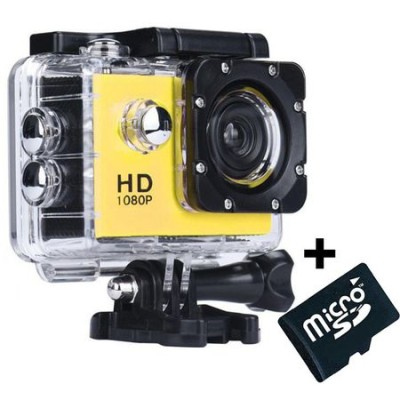 Camera Sport iUni Dare 50i HD 1080P, 12M, Waterproof, Galben + C