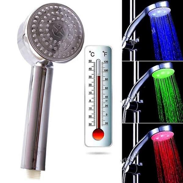 Cap de dus cu led colorat in functie de temperatura apei
