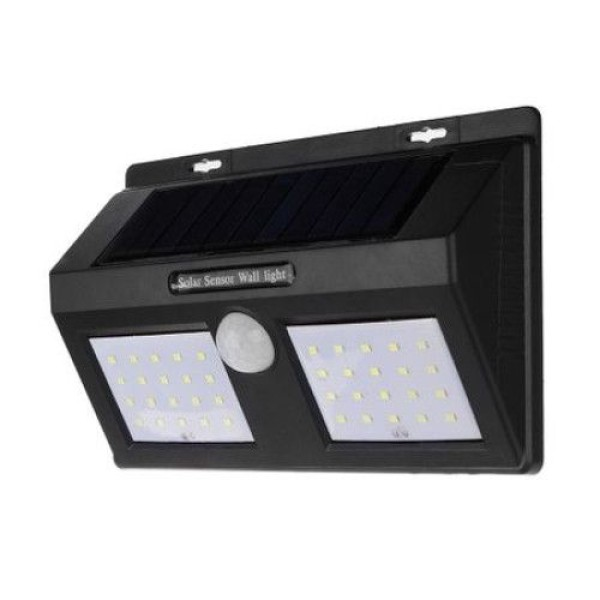 Lampa dubla solara de perete cu 96 led-uri si senzor de miscare