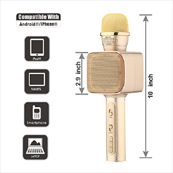 Microfon wireless karaoke, bluetooth, boxe incorporate, auriu