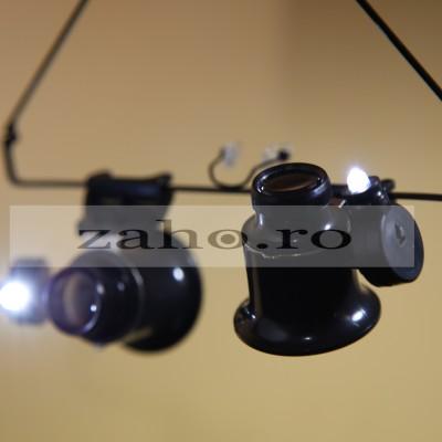 Lupa-ochelari marire 20x, cu LED de iluminare, usor de purtat pe