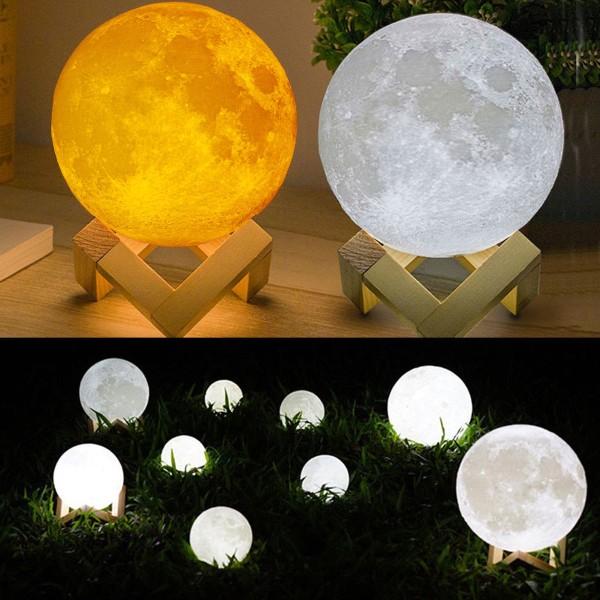 Lampa Moon 3D cu suport lemn, alb rece, alb cald, rosu, 8 cm