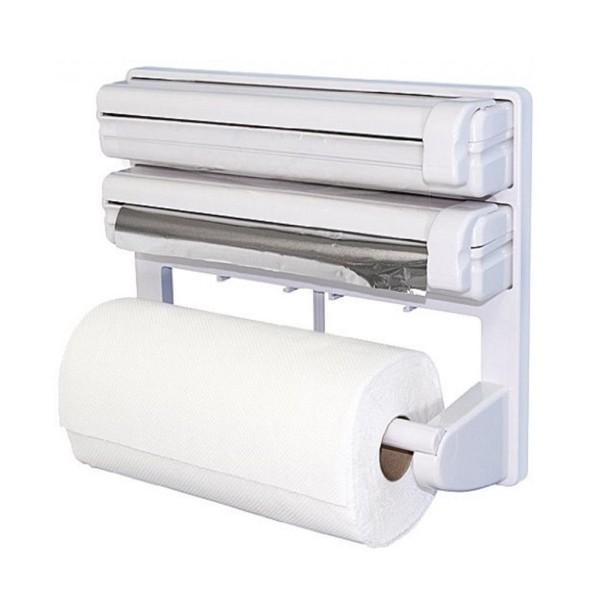 Triplu dispenser bucatarie: rola hartie prosop, folie aluminiu s