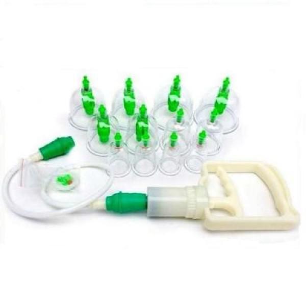 Ventuze de masaj anticelulitic si medicinal, cu pistol de vacuum, set de 12