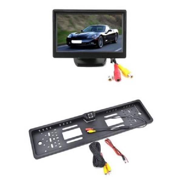 Suport numar inmatriculare cu camera video marsarier si monitor LCD 5 inch