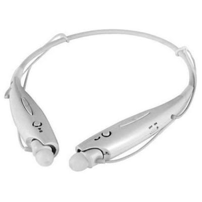 Casti bluetooth stereo tip colier, albe, cu microfon si dopuri