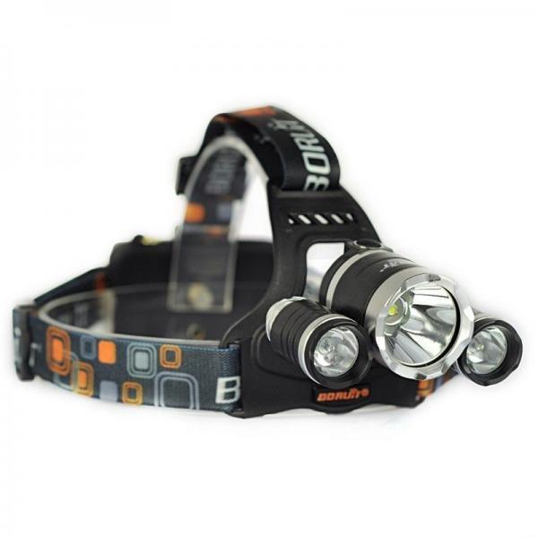 Lanterna frontala din aluminiu, 3 LED-uri CREE + 2 acumulatori
