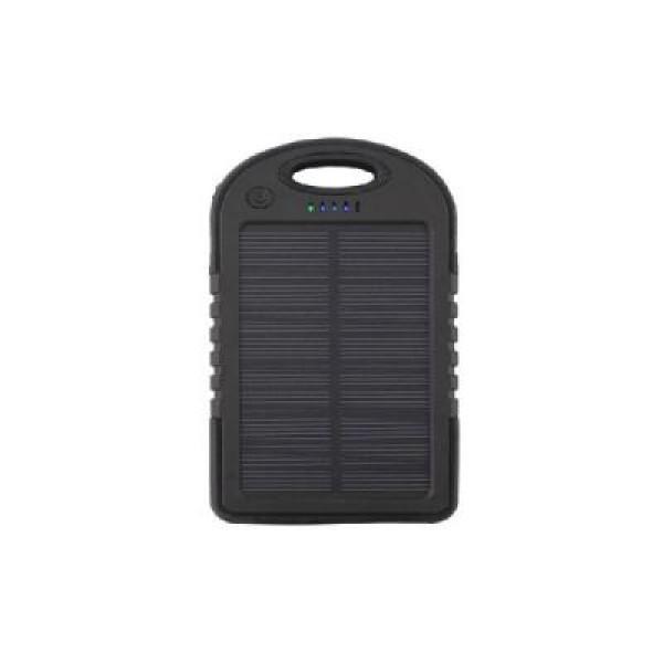 Baterie externa cu incarcare solara si LED, 12000mAh, neagra