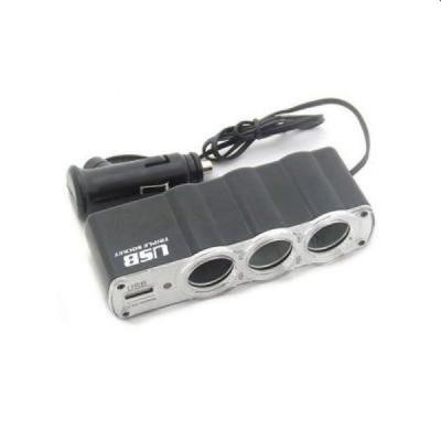 Priza auto cu USB, 3 iesiri tip bricheta, cablu 40 cm