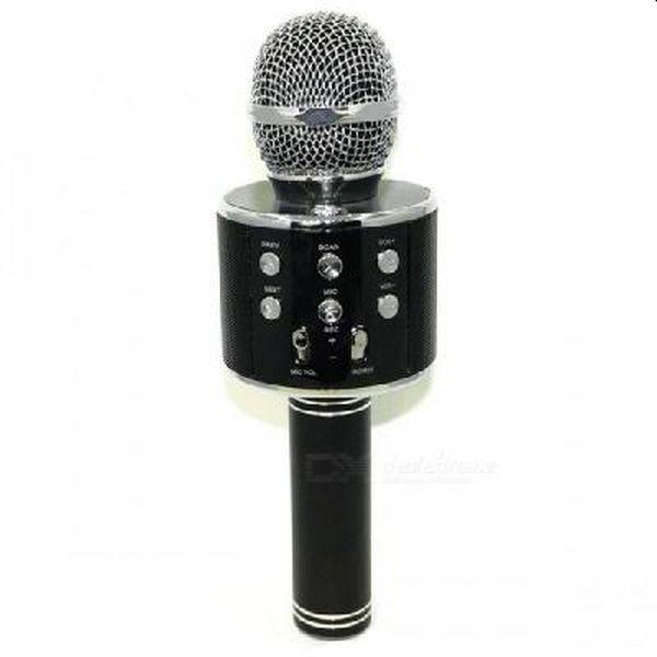 Microfon Karaoke wireless cu bluetooth si boxa, WS-858 negru