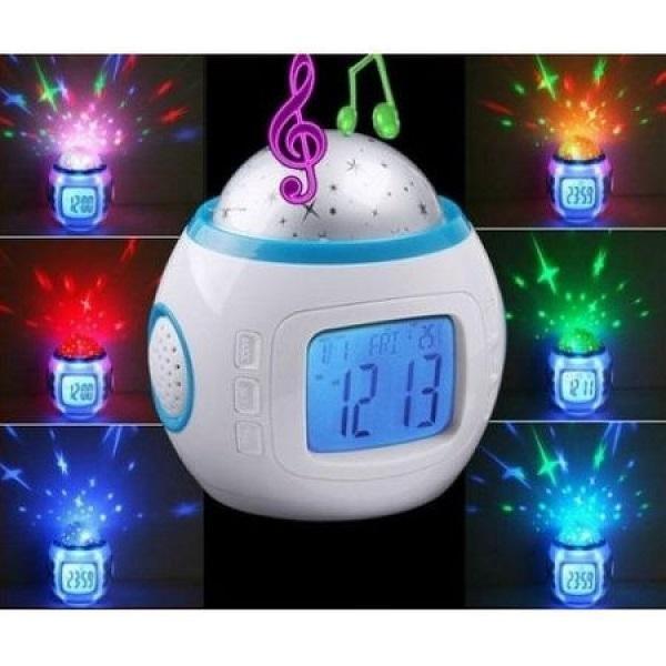 Lampa de veghe pentru copii cu ceas, alarma si proiectie stele