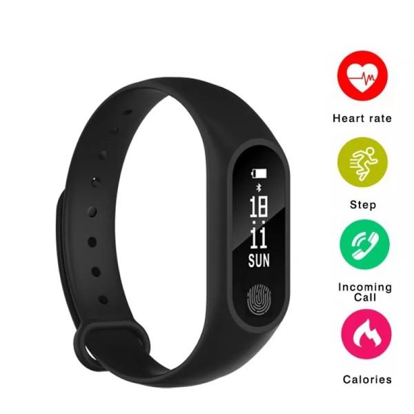 M2 Bratara Fitness Inteligenta cu Monitorizare al Pulsului, Arderea caloriilor, Tensiunea arteriala, Negru