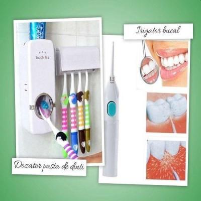 Kit igiena dentara: irigator bucal, dozator pasta si suport de periute