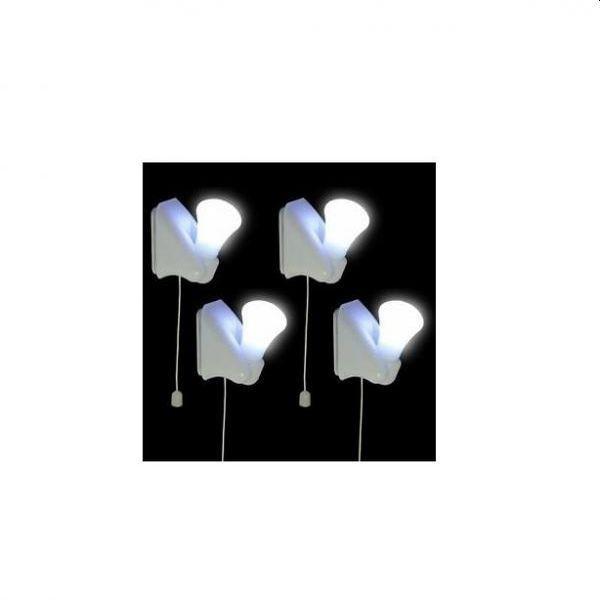 Set de 4 becuri fara fir, cu lumina rece, alba, Handy Bulb
