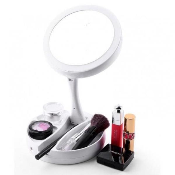 Oglinda make-up si pensat cu led-uri, pliabila si portabila