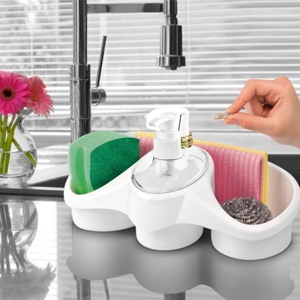 Suport de bucatarie pentru burete cu spatiu pentru pastrarea accesoriilor