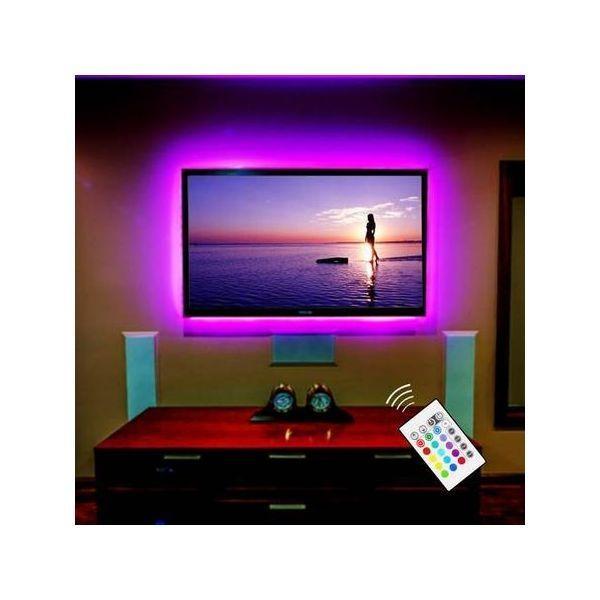 Set 2 benzi led RGB, lumina ambientala in spatele TV, cu telecomanda si alimentare USB