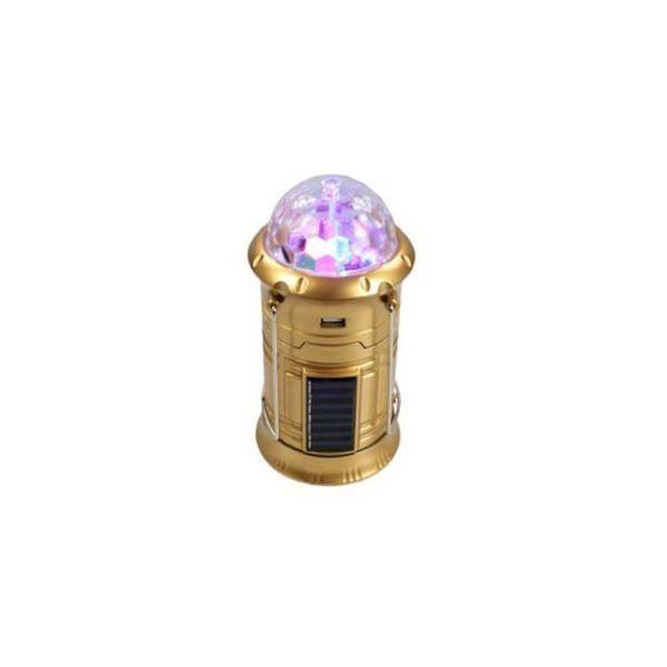 Felinar led reincarcabil, solar, cu lanterna 6 LED-uri, mufa USB si glob disco RGB