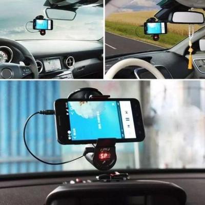 Suport de telefon auto cu handsfree, FM, speaker, player muzical