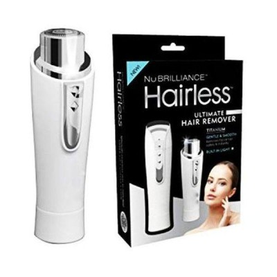 Epilator facial NuBrilliance Hairless Titanium, alb, rezistent la apa