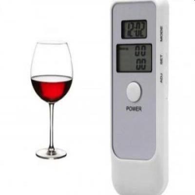 Etilotest digital, verifica alcoolemia, 2 ecrane LCD, ceas si alarma