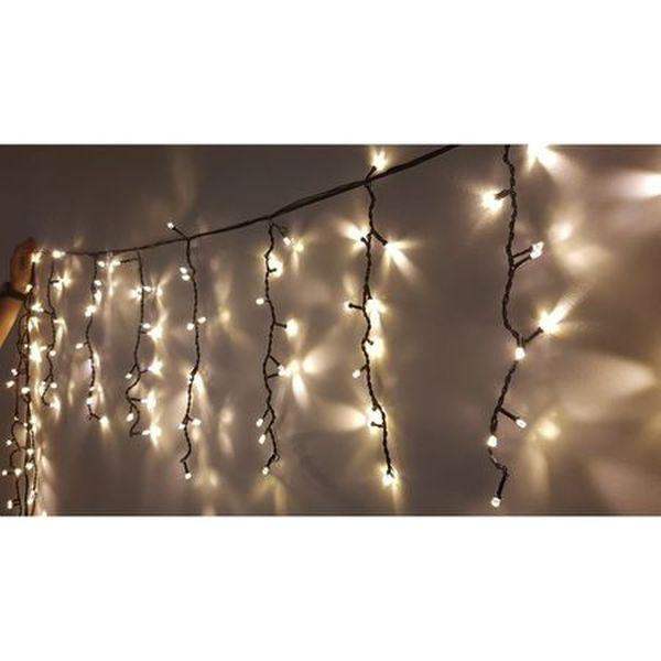 Instalatie tip Perdea franjurata, 3m, alb cald, 96 LED-uri, exterior