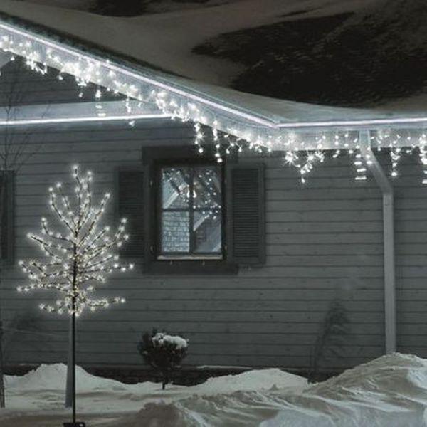 Instalatie Craciun, 8m, 180 LED-uri, tip franjuri, Alb Rece,