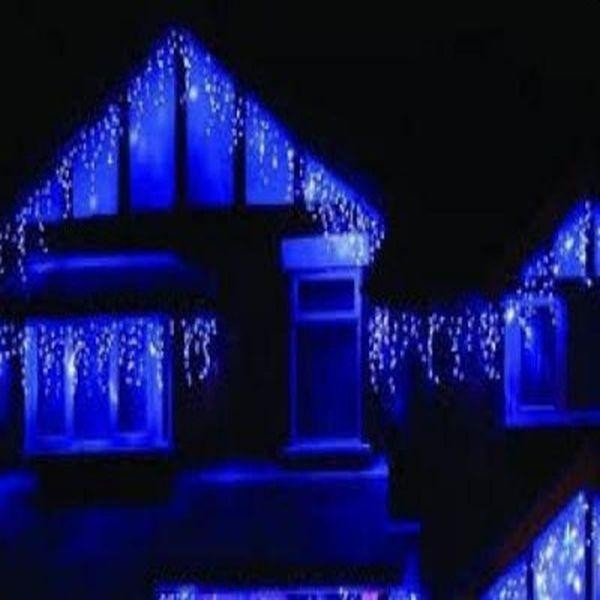 Instalatie LED cu franjuri, 10m, de exterior, albastra sau multicolora