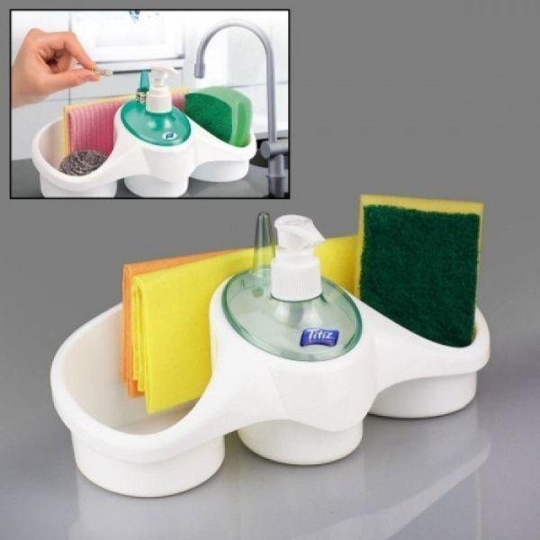 Dozator pentru detergent cu suport pentru burete