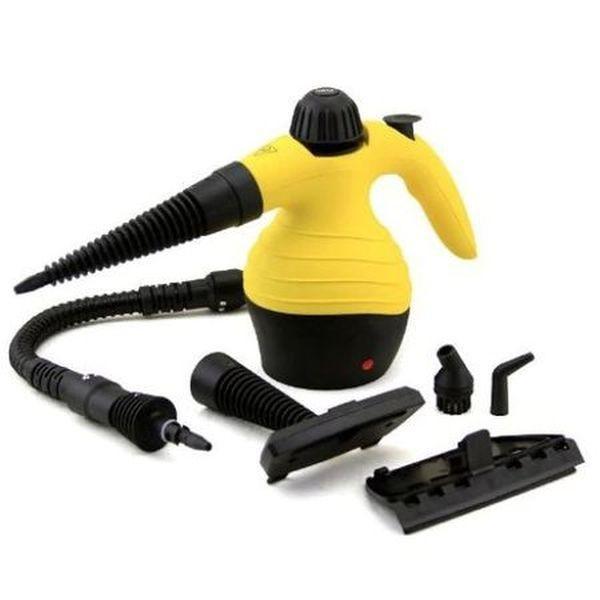 Aparat de curatat cu aburi galben-negru, cu accesorii incluse