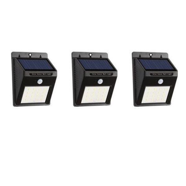 Set 3 lampi solare de perete cu 20 led-uri, senzor de miscare