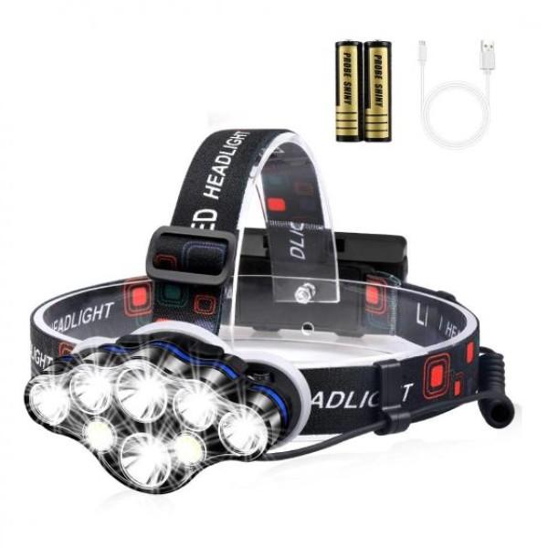 Lanterna de cap cu 8 LED-uri, rezistenta la umezeala